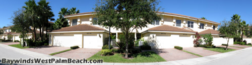 Another option at Bayinds in West Palm Beach is to live in a coach home. The living space for these units is all on one floor (either upsairs or downstairs). All units have a first-floor entance and an attached garage.